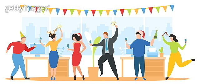 Christmas party in office vector illustration, Team of happy corporate people celebrate, dance, have fun on New Year holiday