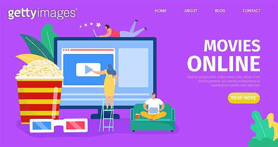 Movie online, video media vector illustration. Computer screen with web digital cinema online, multimedia technology design.