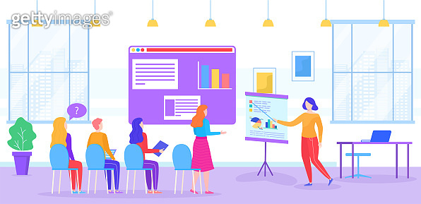 People on coaching training vector illustration, cartoon flat trainer coach character teaching group students in classroom interior