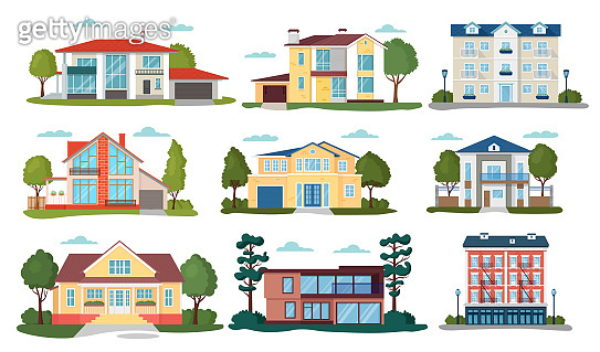 Modern house vector illustrations, cartoon flat home apartment,