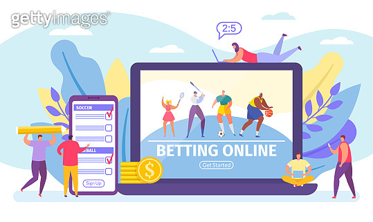 Betting online game, bets on sport banner tiny people cartoon vector illustration.