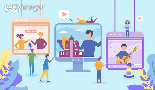 Video in internet online vector illustration of people using laptop and tablet to watch live video streaming, social media technologies.