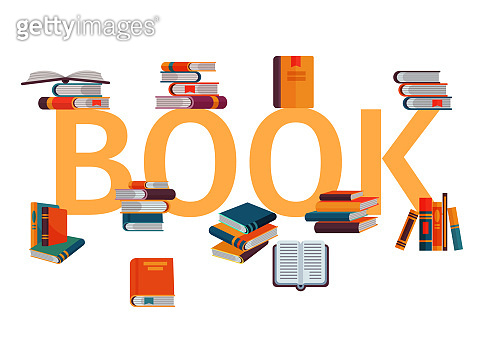 Stack of books on gigant letters on a white background vector il