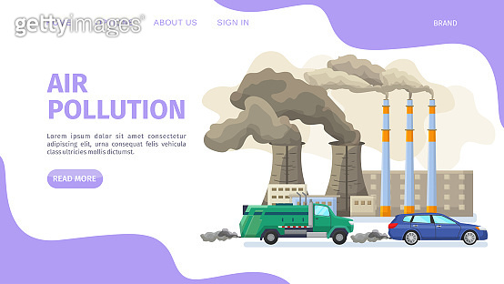 Air pollution, environmental problems web page, vector illustration. Industrial factory and car with exhaust gas contaminate