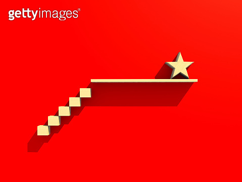 3D illustration business success ideas concept with stair shape wooden block and star on top of stair free copy space for your text on red paper background