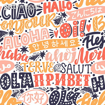 Lettering seamless pattern with word hello in different languages