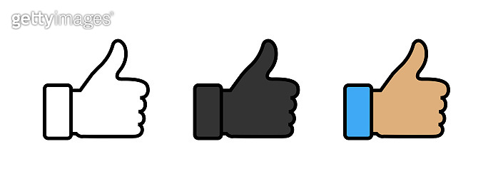 Thumbs up icons. Like vector icons, isolated. Like or Thumb up in different design. Vector illustration
