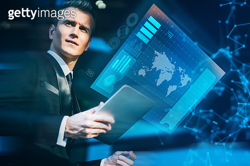caucasian business male professional owner entrepreneur work and leading executive in the business empire modern office hand touch monitor virtual screen digital technology
