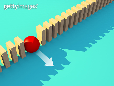 3D illustration wooden block array in row with red sphere  stand out from the row business leadership ideas concept on green background