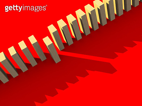 3D illustration wooden block array in row with stand out from the row business leadership ideas concept on red background