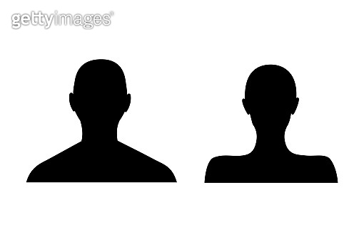 Anonymous female and male face avatar. Incognito man and woman head silhouette