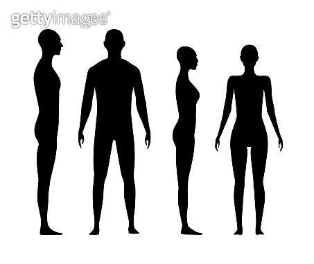 Front and side view human body silhouette of an adult man and a women