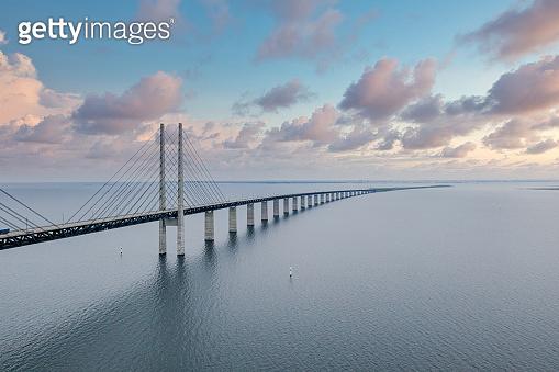 Beautiful aerial view of the Oresundsbron bridge between Denmark and Sweden, Oresundsbron.