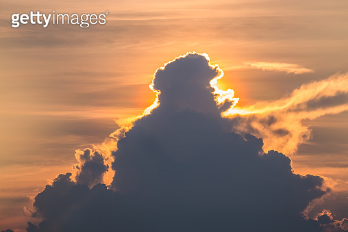 Beautiful sunset with twilight sky and cloud. sunset and light rays