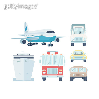 Vehicle types flat color vector objects set