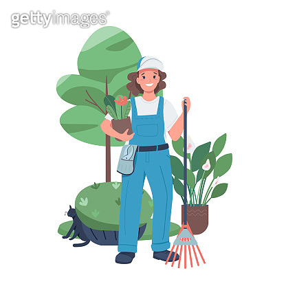 Woman landscaper flat color vector detailed character