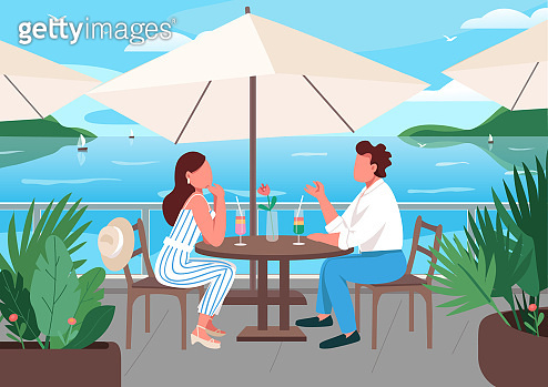 Friends having breakfast in seaside resort cafe flat color vector illustration