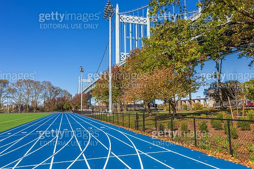 Track and Field Complex and RFK Triborough Bridge, New York, USA.