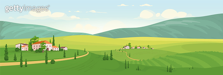 Idyllic rural scenery flat color vector illustration