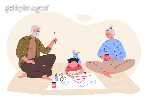 Grandparents draw picture with their granddaughter
