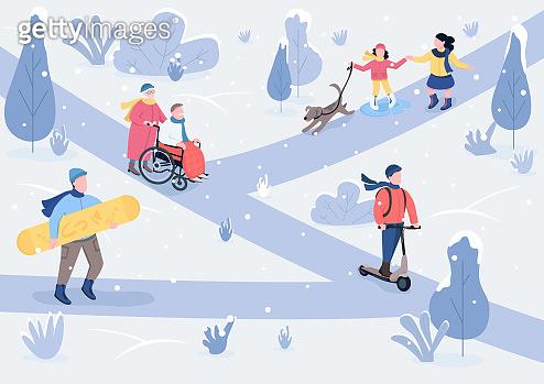 Winter parkland flat color vector illustration