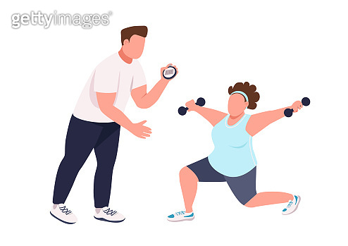 Woman with fitness instructor flat color vector faceless character