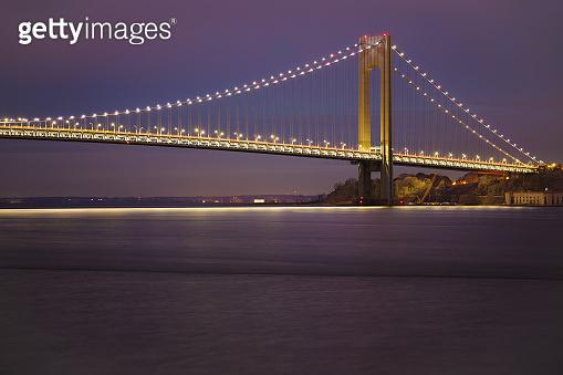 Verrazano-Narrows Bridge and New York Harbor at Sunset, USA.