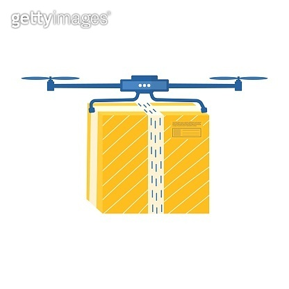 Online delivery service with drone. Carton packages with adhesive tape for delivery icons. Vector illustration of flying postal parcel, pack, box