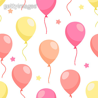 Balloons pattern for print design, banner, web, paper. Party decoration. Vector illustration