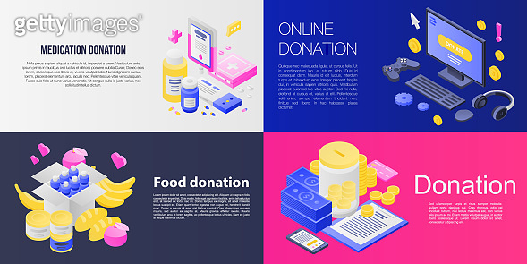 Donations banner set, isometric style