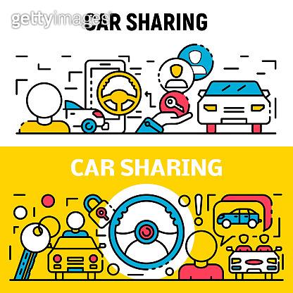 People car sharing banner set, outline style