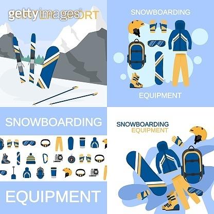 Snowboarding gear banner set, flat style