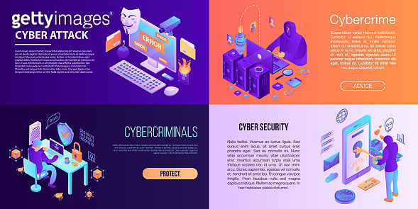 Cyber attack banner set, isometric style