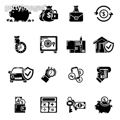 Credit icons set, simple style