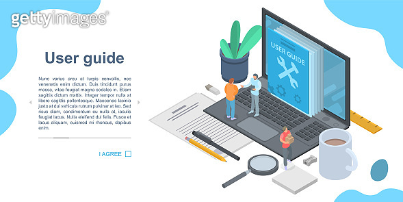 User guide concept banner, isometric style