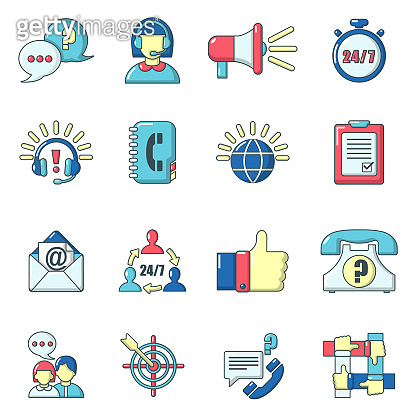 Call center icons set, cartoon style