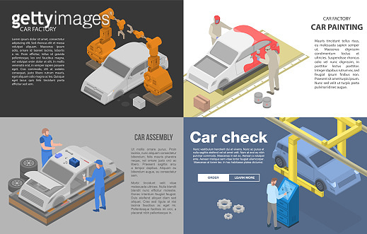 Car factory banner set, isometric style