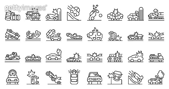Car accident icons set, outline style