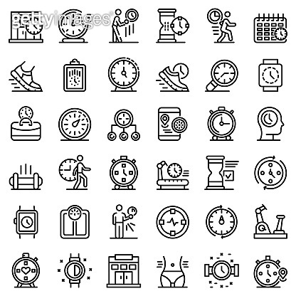 Gym time icons set, outline style