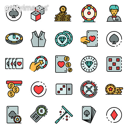 Croupier icons set line color vector, outline style