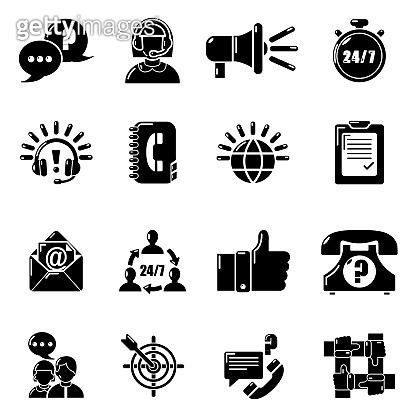 Call center icons set, simple style