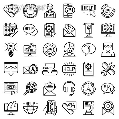 Service center icons set, outline style