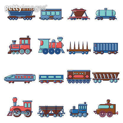 Railway carriage icons set, cartoon style
