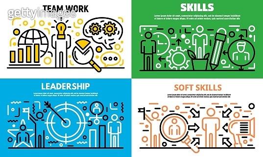 Human managing skills banner set, outline style