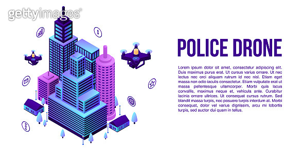 City police drone concept banner, isometric style