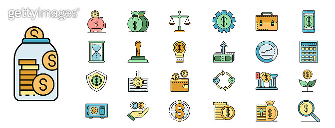 Deposit icons set line color vector, outline style