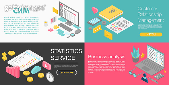CRM banner set, isometric style