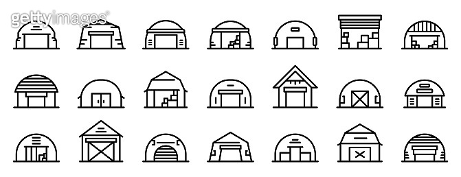 Hangar icons set, outline style