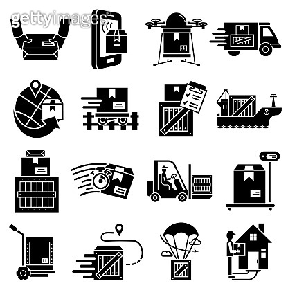 Parcel delivery icons set, simple style