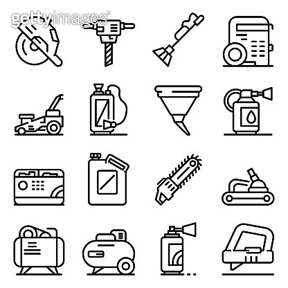 Gasoline tools icons set, outline style